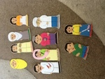 Asian family & friends finger puppets