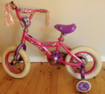 A160: Pink Flutter Bike With Training Wheels