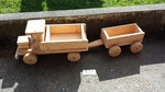 16: Wooden tip truck and trailer