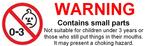 Warning small parts single  sticker