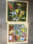 1143: 2 x board Puzzles Pet Animals and Jungle