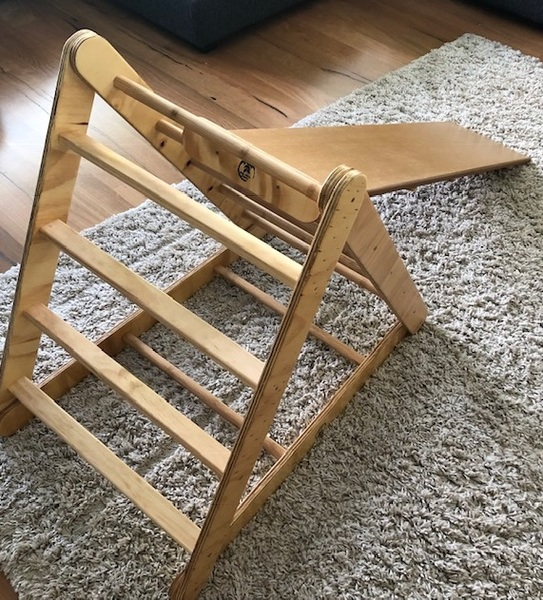 1227: Toddlers Timber Time triangle frame and climbing ramp slide