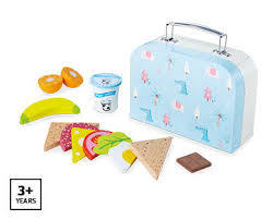 367: wooden play food-lunch box set