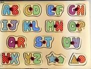 P0004: wooden peg alphabet puzzle