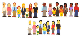 720: Wooden multicultural family set