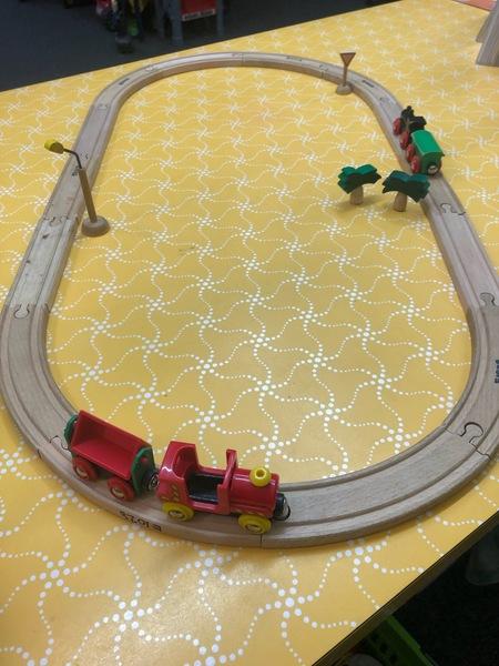 E1028: BRIO WOODEN ROAD & RAIL SET