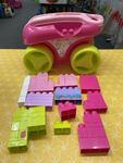C0061: Pink Mega Blocks Wagon with blocks