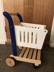 E97: Wooden shopping trolley to push along