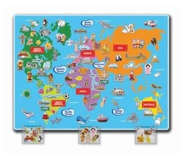 J95: Giant felt world map with lots of cut outs