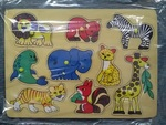 1343: 9 animal wooden peg puzzle