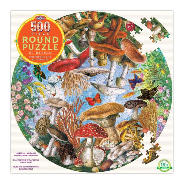 P753: 500 piece Puzzle - Mushrooms and Butterflies