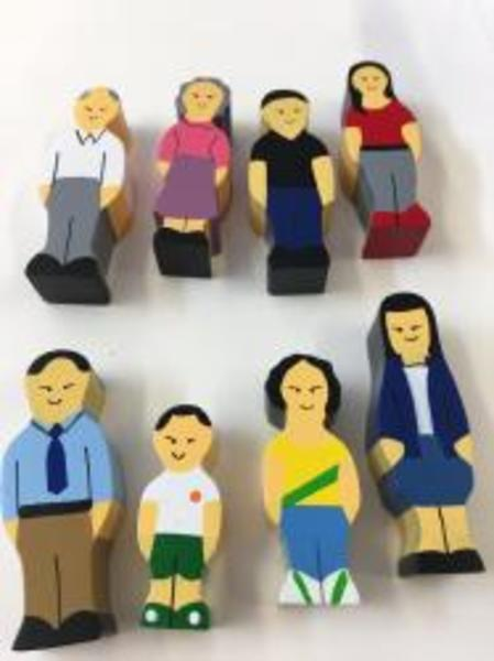 E30: Wooden Asian Family Block Play