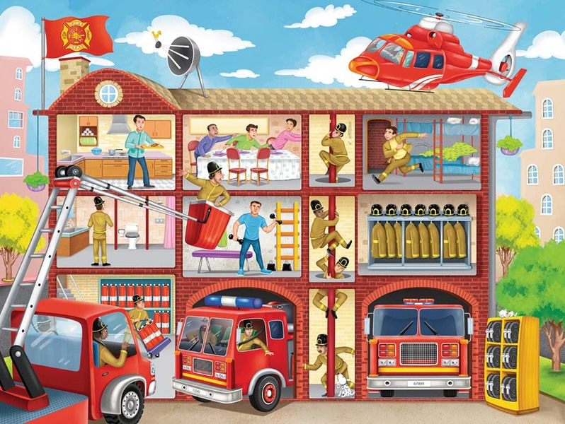 A228: Ravensburger Firehouse Frenzy Puzzle 100 Piece
