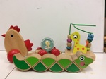 B2.064.1: Pull along Hen with Ball, Grasping worm & Giraffe Bead Frame