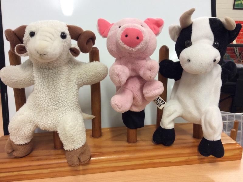 E2.112.36: Cow, Ram & Pig Puppets