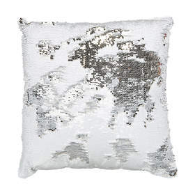 C4.021.4: WHITE & SILVER SEQUIN CUSHION