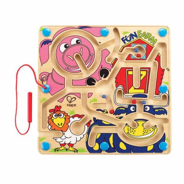 G10442: Hape Fun Farm Magnetic Marble Wooden Maze
