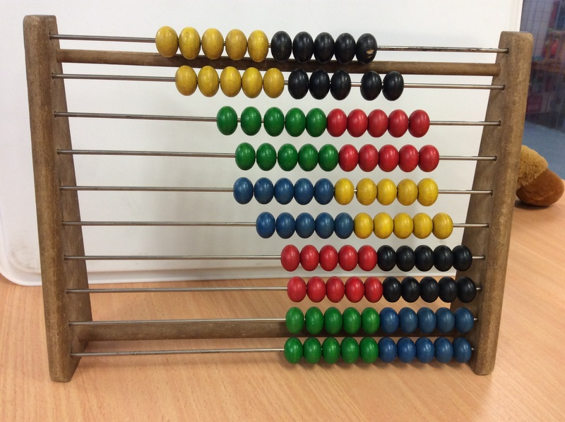 F2.066.1: 1 WOODEN ABACUS WITH MULTI COLOURED BEADS