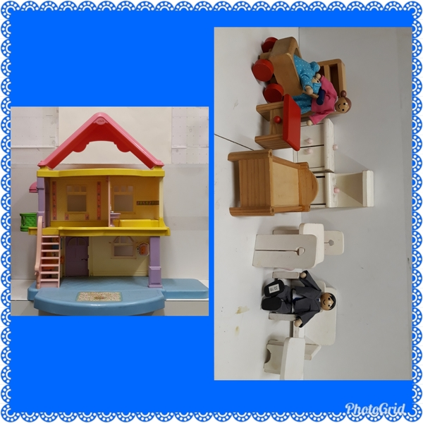 E2.893.1: Fisher Price House with Wooden Furniture and People