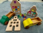 244: Dutch Wood Houses with Lucite Cubes
