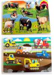 159: Farm Animal Peg Puzzle & Construction Vehicles Peg Puzzle