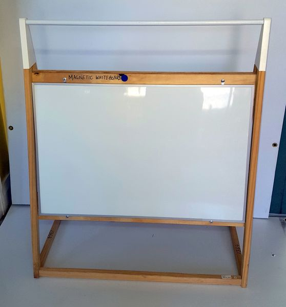 1364: 1 x White Board Magnetic Board A Frame