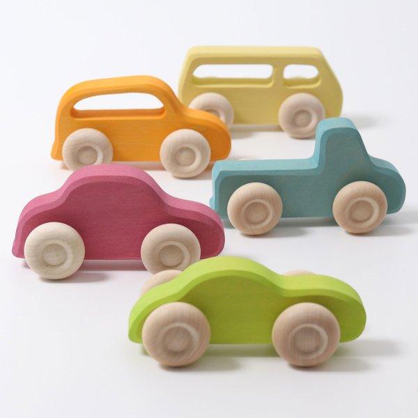 B168: Grimms Wooden Car Set of 5