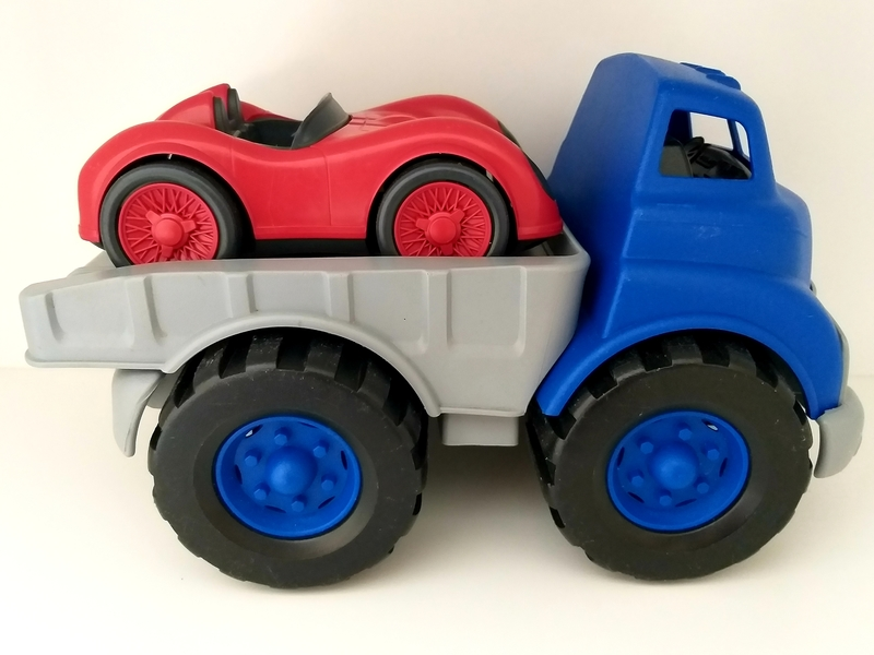 VT29: Green Toys Flatbed Truck and Race Car