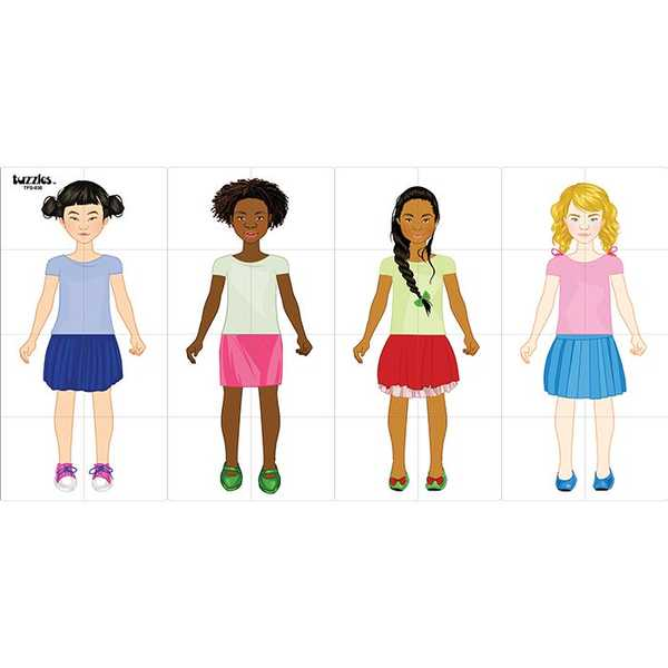 C53: Multicultural Girl body grid puzzle