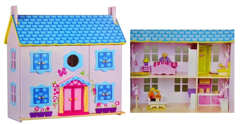 357: Wooden Dolls House With Box Wooden Furniture