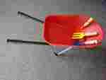 1060: Garden tools and red wheelbarrow