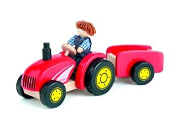 E979: Wooden Tractor with Farmer