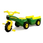 A138: John Deere Ride on Pedal Trike Tractor & Pull Wagon