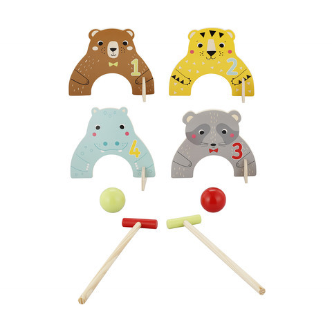 A209: Wooden Animal Croquet Set