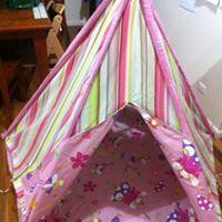 3325: Teepee Tent Pink Stripe Fairy Design