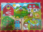 3E00025: 9 pcs wooden puzzle (Farm)