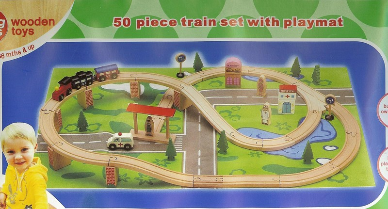 353: 50 piece train set with playmat