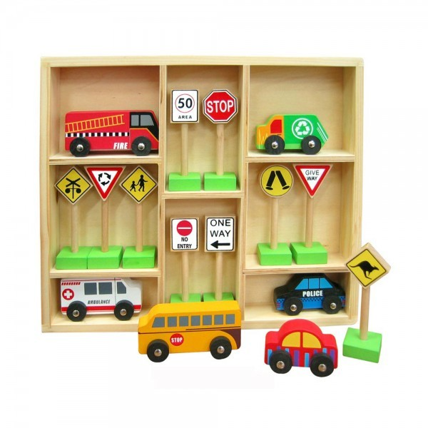 3022: Fun Factory Wooden Cars & Traffic Signs Set