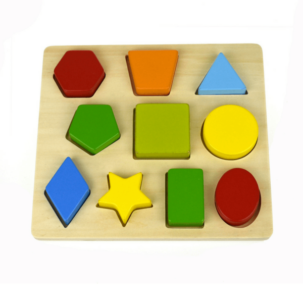 3097: 10 Shape Wooden Chunky Puzzle