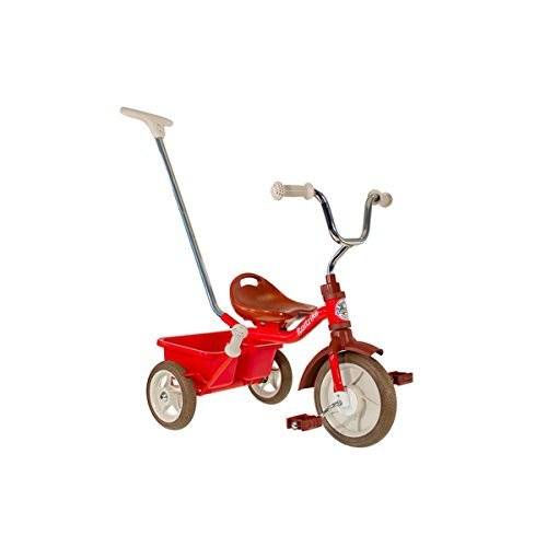 """R025: 10"""" Red Tricycle with Parent Handle"""