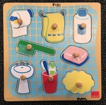 P131: Bathroom Things Puzzle with knobs
