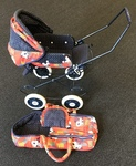 D1813: Collapsible Doll Pram with Hood, Bassinet and Pillow