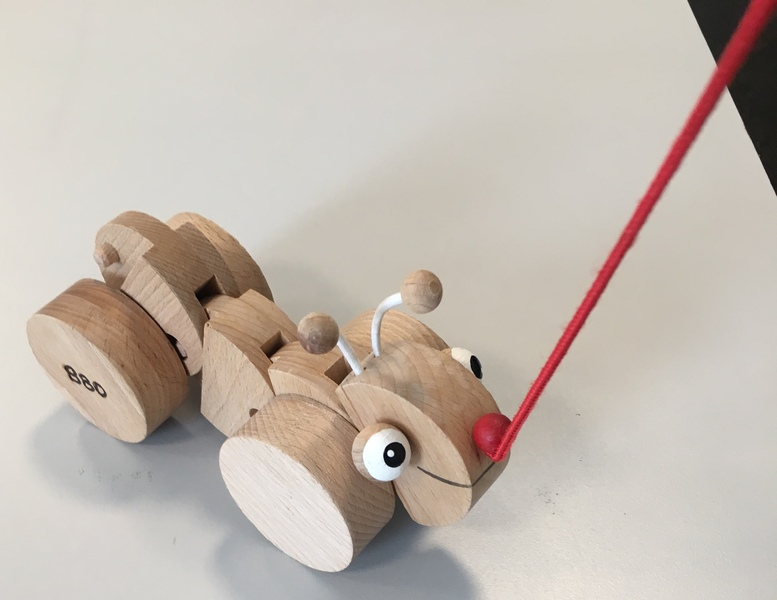 B80: Caterpiller pull toy - wooden
