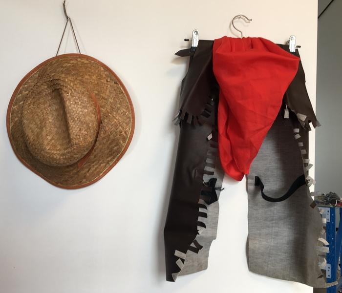 D1107: Cow person 4 pc (pants, vest, red scarf, hat)
