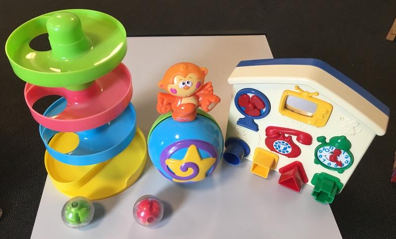 DB2: Busy ball drop (B65), Monkey 'return' ball (B3), Tomy Shape Sorter (B563)