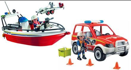 "912: ""Playmobil Boat and Fire Chief""""s Car"""