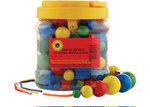 E16: Wooden Attribute Beads in Jar – 176 Beads