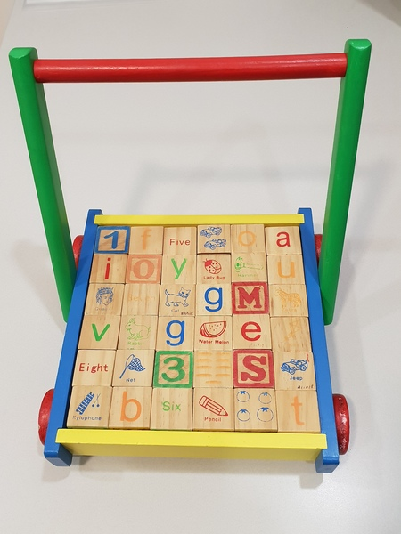 B11015: Coloured Wooden Trolley