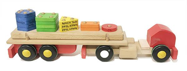 K5404: Wooden Shape Block Truck and Trailer