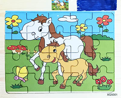 T8229: Small horse wooden puzzle 20 piece